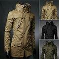 2016 nueva inglaterra estilo cuello alto hombres zanja chaqueta verde del ejército de negocios informal cazadora delgado para hombre chaqueta de la capa M-XXL