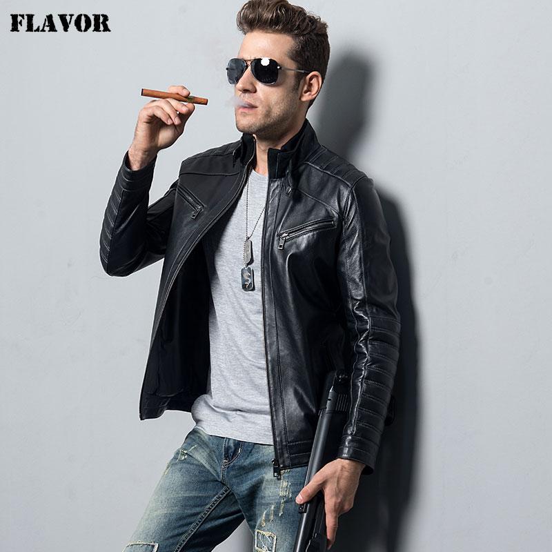Men's Genuine Sheepskin Leather Jacket Motorcycle Coat Male Lambskin Real Leather Bomber Jacket
