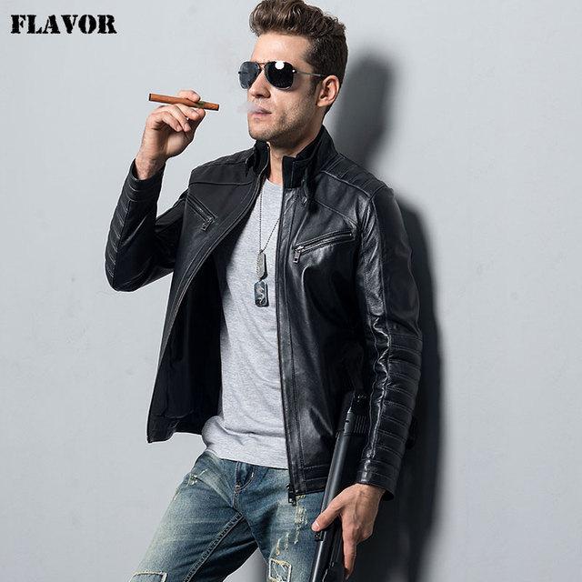 af4c9ad3e45 Men s Genuine Sheepskin Leather Jacket motorcycle coat male lambskin Real  Leather Bomber jacket