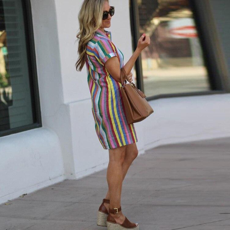 Летнее женское платье в полоску, Повседневное платье средней длины