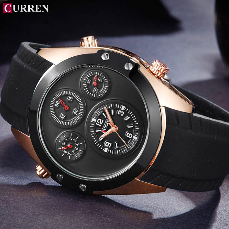 CURREN Mens Watches Top Brand Luxury Gold Black Silicone Quartz Watch Men Casual Military Sport Clock Male Waterproof Wristwatch curren watches mens brand luxury quartz watch men fashion casual sport wristwatch male clock waterproof stainless steel relogios