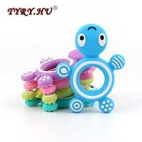 TYRY HU10pc Silicone Tortoise Baby Ring Teether BPA Free Silicone Chew Charms Baby Teething Teeth Gift