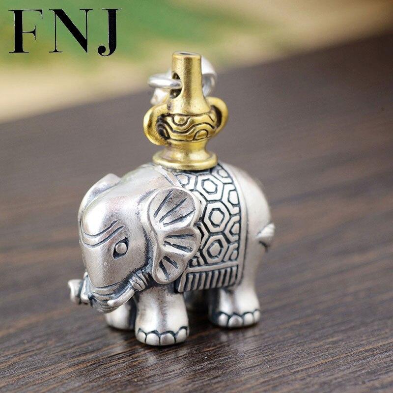 FNJ 925 argent éléphant pendentif Animal Original S990 Thai argent pendentifs pour femmes hommes fabrication de bijoux