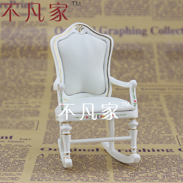 Wholesale Doll House Miniature Furniture White Handmade Colored Well Made Rocking  Chair