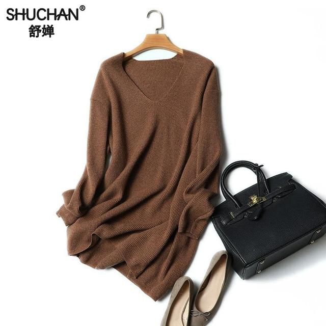 SHUCAHN Cashmere Sweaters For Women Women Long Sleeve Sweater Female V-neck Sueters Mujer Invierno Manga Larga 17468