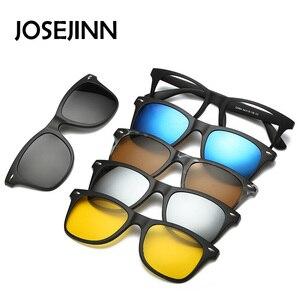 Image 1 - 5 en 1 lunettes de soleil hommes pince magnétique sur lentille lunettes polarisées conduite pêche pour myopie lunettes cadre