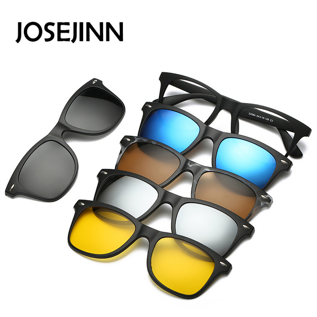 5 in 1 occhiali da sole da uomo Clip magnetica su occhiali da vista polarizzati guida pesca per miopia montatura per occhiali