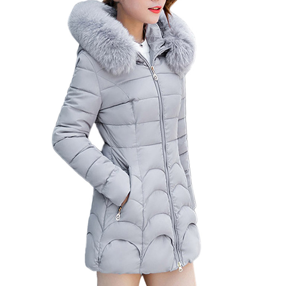 Femelle bleu Long Coton 2018 Capuchon Mince Couleur Outwear rouge Manteaux Fourrure Femmes Épais gris Veste De Col Solide Parka rose Et Mode À Chaud Manteau Noir qPRqwBa