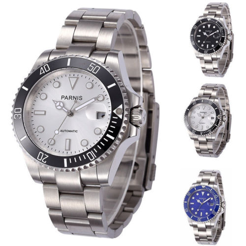 bf31ac0ac98 40mm parnis Black Blue White Dial Sapphire Glass Luminous Hands Stainless  steel Band ceramic bezel Automatic