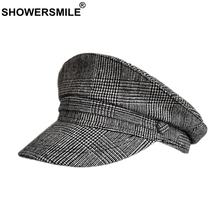 SHOWERSMILE Houndstooth Military Hat Women Cotton Summer Army Cap Ladies Grey Plaid Breathable Baker Hats Female Vintage Caps