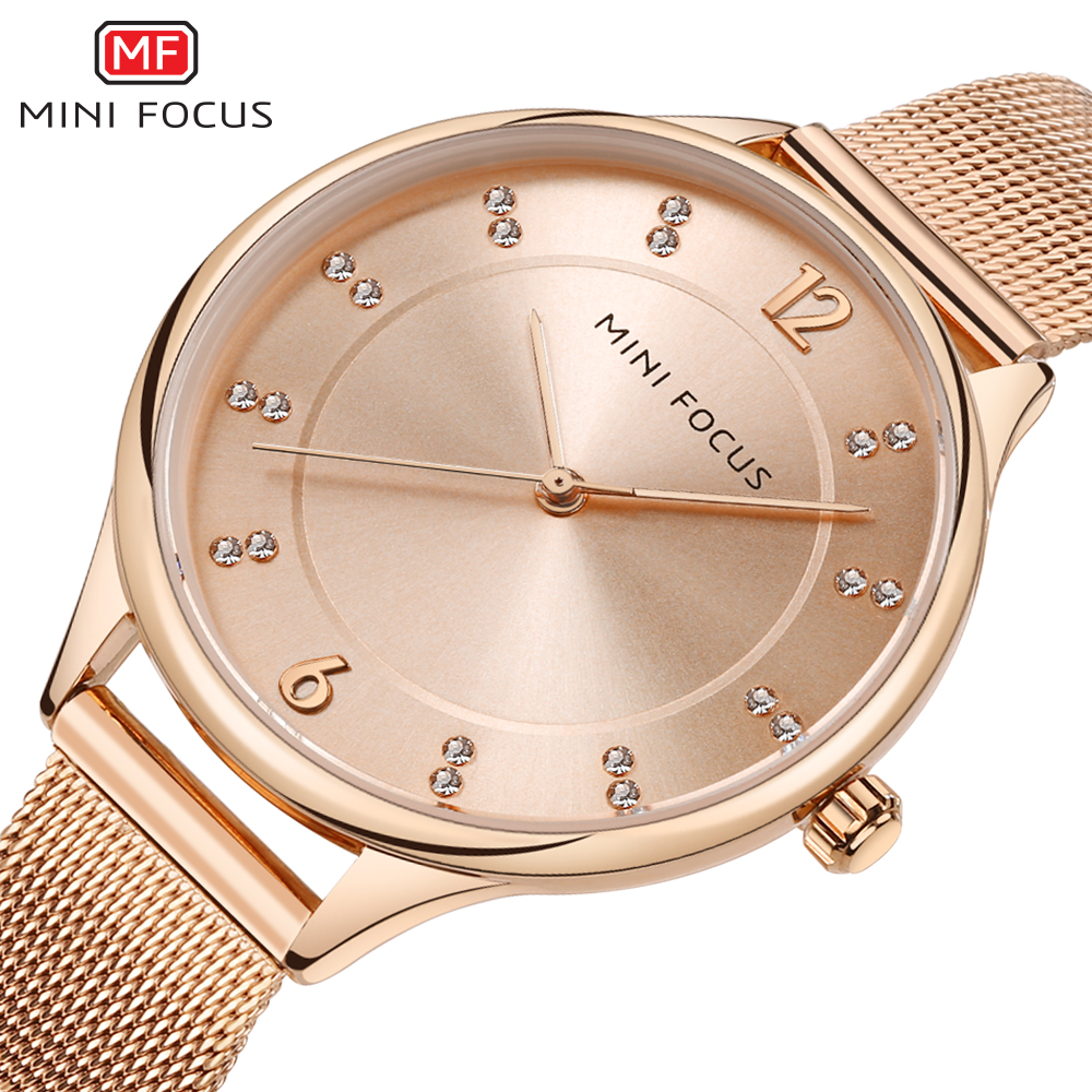 MINIFOCUS Dress Rhinestone Women Watches Bracelet Luxury Waterproof Quartz Ladies Rose Gold Watch Stainless Steel Montre Femme