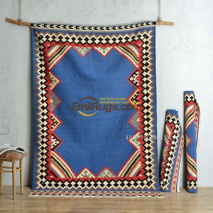 Синий чистый Ручная работа; вязаное; шерстяное Турции индийский Экзотический стиль Кырым гостиная диван, журнальный столик, ковер gc137-9yg4