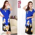 New XXXLSummer Long Loose Plus Size Women Cotton Nightgown Bohemian Short-sleeve Printing Nighty Dress Bust 120CM Free Shipping