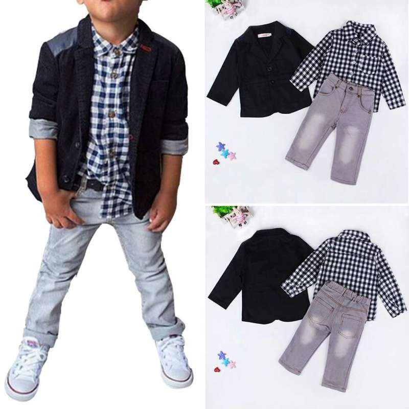 Summer Baby Boys Dress Suits Clothes for Gentleman Boys Children Shirts Pants Kids Suit Jacket + Plaid Shirt + Jeans 3pcs/set kids clothing set plaid shirt with grey vest gentleman baby clothes with bow and casual pants 3pcs set for newborn clothes