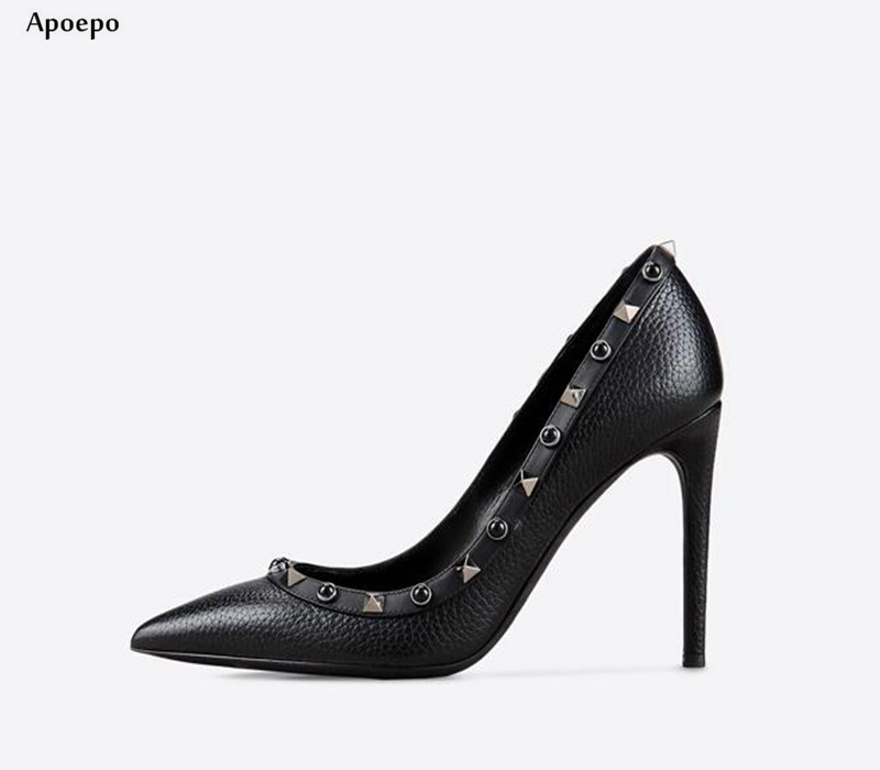 New Newest High Heel Shoes for Woman Sexy Pointed Toe Rivets Studded Thin Heels Pumps 2018 Black Leather Dress Shoes jn 240010кjn