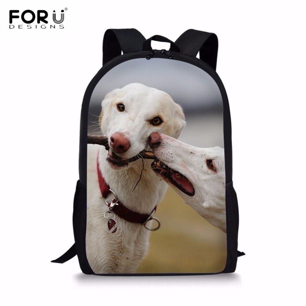 FORUDESIGNS Kawaii 3D Animal Dog Italian Greyhound Print Boys Girls Backpacks Casual Students Lap Top Rucksacks Kids schoolbags