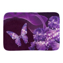 Purple Iris Beauty Butterflies Doormat Spring Landscape Door Mats For Living Room Bedroom Soft Short Plush Fabric Floor Mats