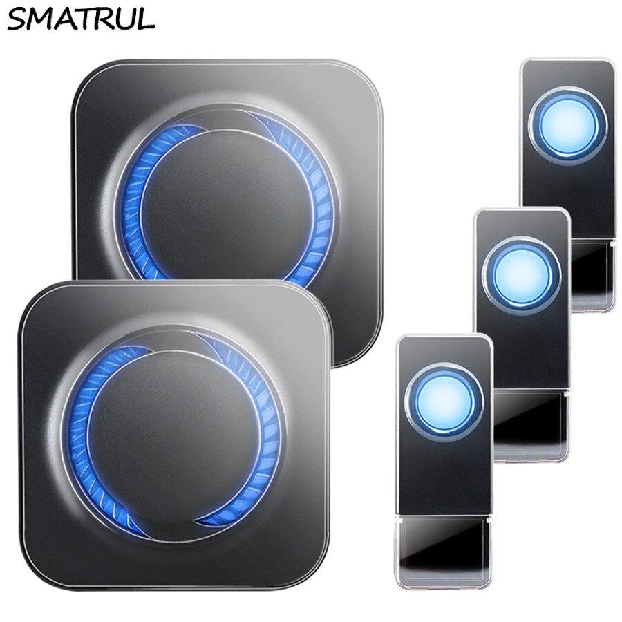 SMATRUL Étanche Sans Fil Sonnette UE Plug 300 M longue portée maison intelligente porte Cloche anneau appel 3 bouton 1 2 récepteur LED lumière sourds
