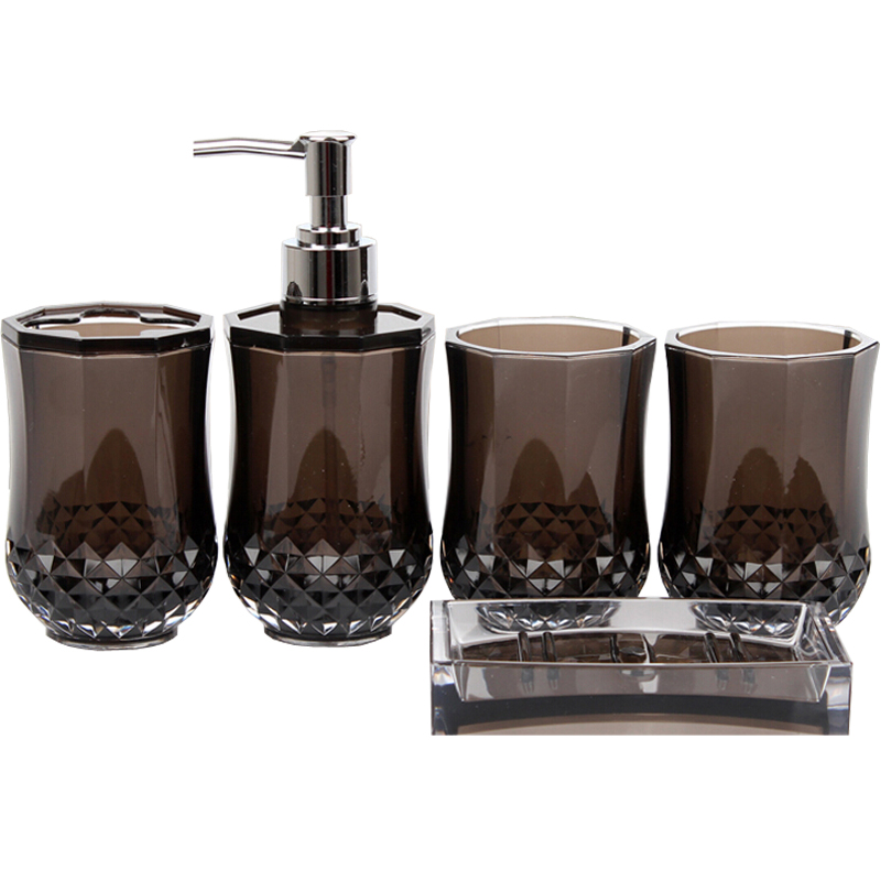 Traditional rhombus acrylic bathroom accessories set for Bathroom soap dispensers bath accessories