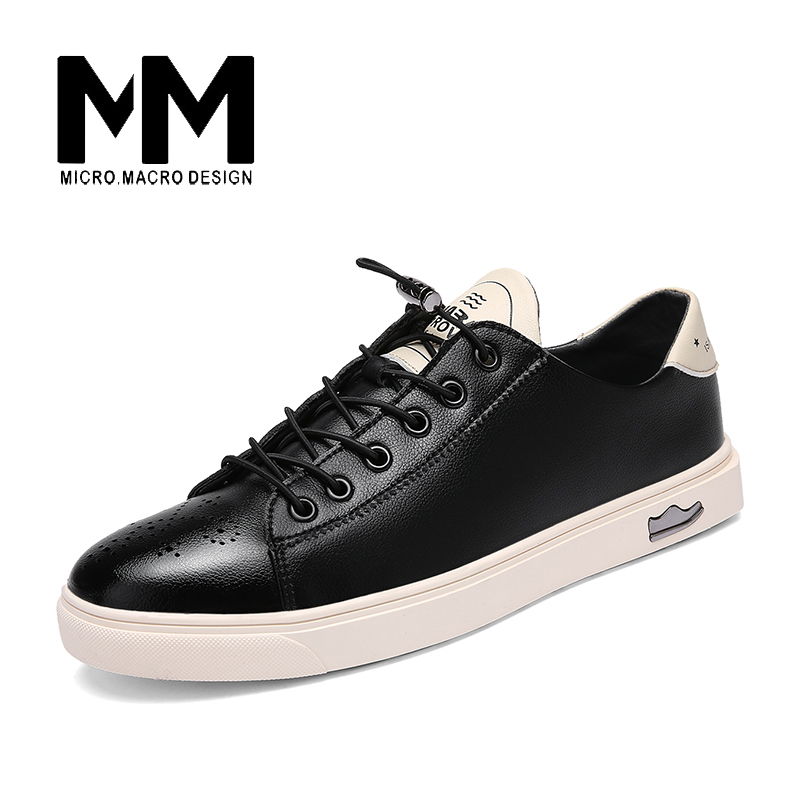 MICRO. MACRO Men Casual Shoe 2017 Spring New Design Linghtweight Breathable Solid Fashion flat shoe Pu Leather men shoe 16828 micro micro 2017 men casual shoes comfortable spring fashion breathable white shoes swallow pattern microfiber shoe yj a081