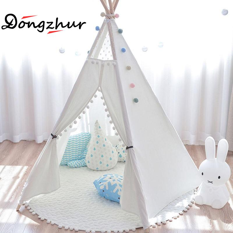 Dongzhur European Four Poles Kids Play Tent Cotton Canvas Teepee Children White Lace Tent Play Toy House For Children Room Tipi children tent five wooden poles indian play teepees kids tipi cotton canvas teepee white play house for baby room