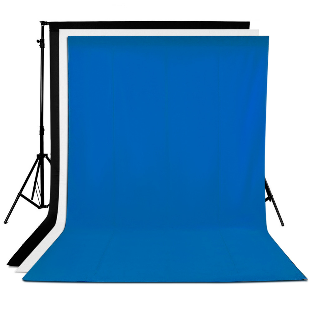 Neewer 3 Pieces of 6 x 9FT/1.8 x 2.8M Photo Studio 100% Pure Muslin Collapsible Background Backdrops(1*White & 1*Black & 1*Blue ps3 03 6 x 9 studio lighting kit black white and green muslin backdrops and background stand kit