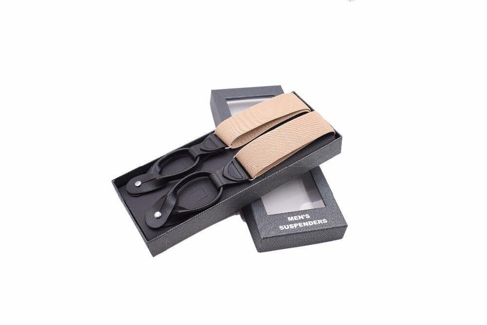 Mens 6 Clips Buttons Adult Braces Mens Hot Monochrome Suspenders Fashion Adjustable Ligas Tirantes 3.5*120 cm