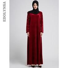 81b88c4fd Mulheres Abaya Robe Muçulmano Oração Pérola Vestido Preto Vestido Longo  Hijaber Malásia Vermelho Paquistanês Sauditas D519