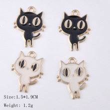 Korean cute enamel cat kitten charms with pearl, fashion alloy animal cartoon pendants hair accessories diy jewelry making charm(China)