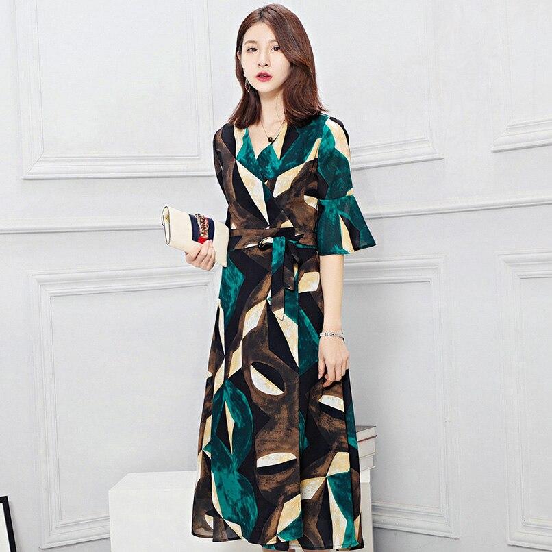 Femmes Vert Imprimer Mousseline de Soie Wrap Robe Robe Longue Femme Ete 2019 Summer Long Beach Boho Robes