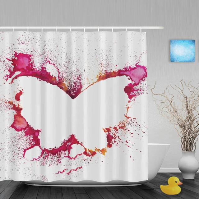 Pink Butterfly Art Print Bathroom Shower Curtains Pigment Splash Home Decor Curtain Waterproof Ployster Fabric With Hooks