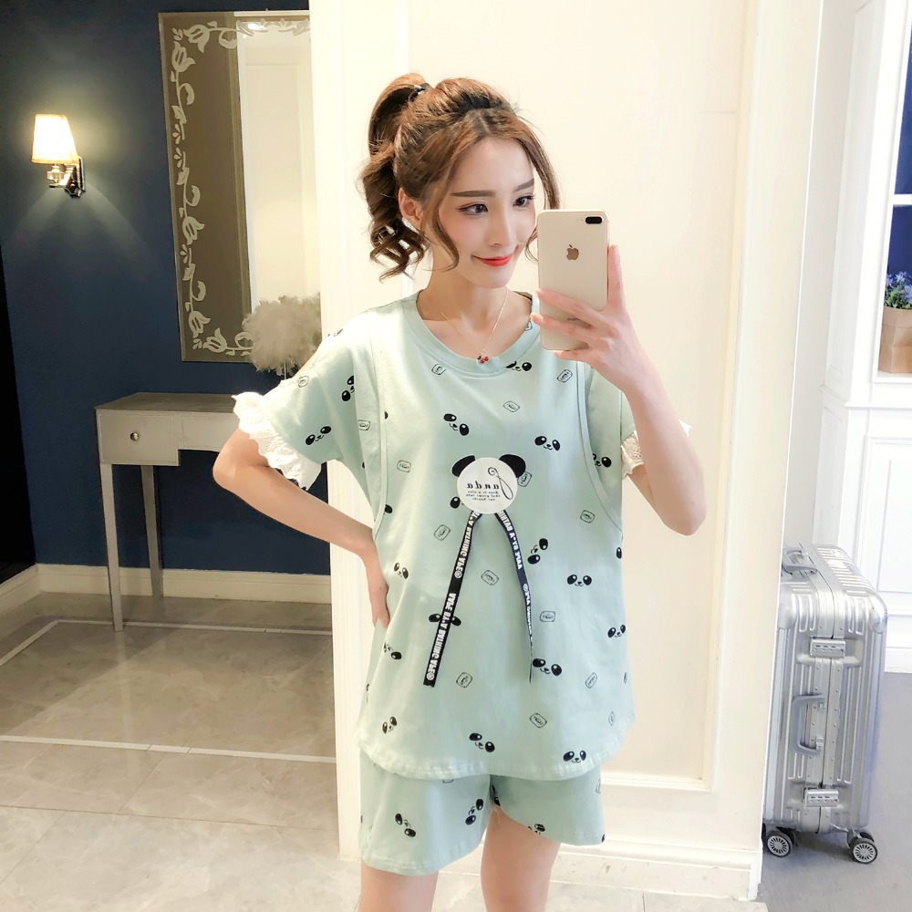 2018 Summer Lovely Maternity Clothes Nursing Breastfeeding 100% Cotton pregnancy clothes for Pregnant Women Maternity Pajamas summer patchwork dress cotton printed breastfeeding nursing dresses for pregnant women maternity dress for pregnancy mother