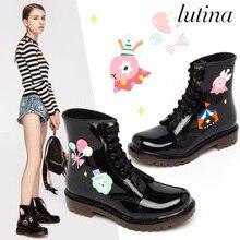cfcd147f159a Lovely pattern Rain Boots Women Pvc Waterproof Square Heel Water Shoes Short  Ankle Gummistiefel Rainboots Damen