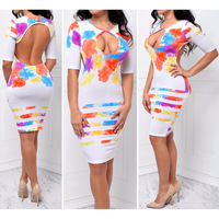 Hot Vestido Tule Cheapest Clothes Women Sexy Fashion Half Sleeves Print Bodycon Party Evening Women Dresses