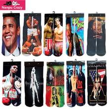 Famous Star 3D Printing basketball Socks for Men Compression Socks Obama Rocky Ali Michael Jackson Printed Novelty Sock