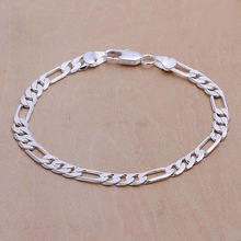 Women Jewelry Bracelet Chain Stamped Gift Wedding Nice Silver-Color Fashion 6MM H219