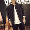 Veste Homme Jacket Men Fashion 2016 Patchwork Leather Sleeve Slim Fit Windbreaker Jacket Man Baseball Collar Plus Size Mens Coat