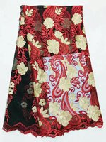 Wholesale Price Red Water Soluble Embroidery French Chiffon Lace Fabric 5 Yards Jl 5 1