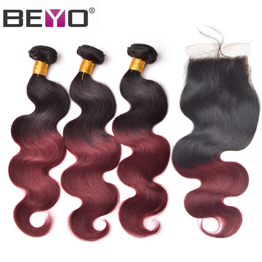 Beyo <font><b>Peruvian</b></font> Hair <font><b>Bundles</b></font> <font><b>Body</b></font> <font><b>Wave</b></font> <font><b>Ombre</b></font> Human Hair <font><b>Bundles</b></font> <font><b>With</b></font> <font><b>Closure</b></font> 1B Burgundy 3 <font><b>Bundles</b></font> <font><b>With</b></font> Lace <font><b>Closure</b></font> 4x4 Non Remy image