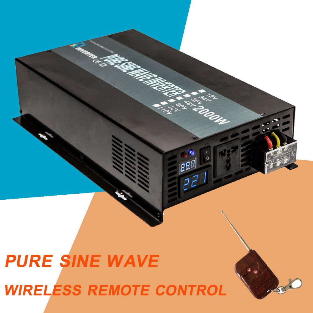цена на Pure Sine Wave Power Inverter 2000W 24V DC to 220V AC Solar Panel Inverter Converter 12V/24/48V to 120V/230V/240V Remote Control