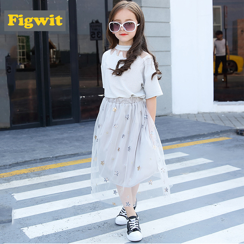 Figwit Girls Kids Children Clothing Set 2 Pcs Black Skirt Mesh Top Tee Shirt Lace For Teen 6 8 10 12 13 Years