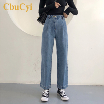 Fashion Women High Waist Jeans Vintage Washed 2019 Spring Cotton Denim Pants Women Loose Straight Jeans Wide-leg Pants Trousers full cotton 2019 wide leg women pants high waist loose straight lady jeans with pockets zippers and ripped design spring summer