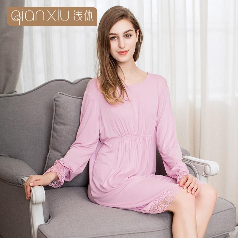 Qianxiu 2019 Autumn Vintage Nightgowns Sleepshirts Elegant Home Dress Lace Sleepwear Women Sleep & Lounge Soft Cotton Nightgown