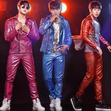 hip-hop costume rack drum stage rock rivets leather jackets mens coats costume mens leather clothing set singer dance red blue