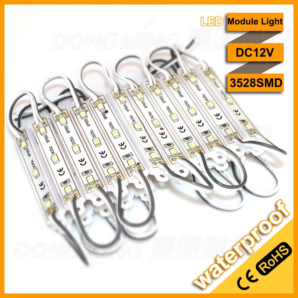60pcs/lot Lowest price 3528 LED modules 3leds LED Signage Lighting waterproof IP65 DC12V cool white CE /RoHs