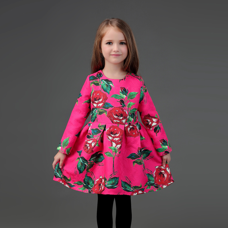Winter mother and daughter matching dress family look clothes rose print warm thick flano lining mom infantil girl fashion dress виниловая пластинка madonna confessions on a dance floor 2 lp