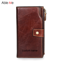 Business Men Wallet Custom Name Wallet Gifts Large Capacity Hasp Purses High Quality Genuine Leather Long