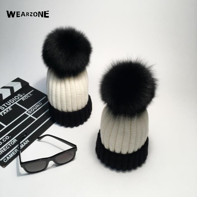 2016 Winter Patchwork Beanie Fur Hat Knitted Cap With Raccoon Fur Pompom Skullies Caps Ladies Knit Winter Hats For Women Beanies unisex 1d one direction letter hats gorros bonnets winter cap skullies beanie female hihop knitted hat toucas with pompom ball