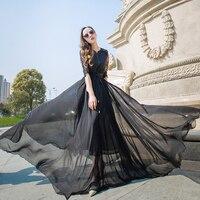 2017 Spring Summer Fashion Elegant Half Sleeve Patchwork Lace Dress Ultra Long Chiffon Dress Slim Elastic