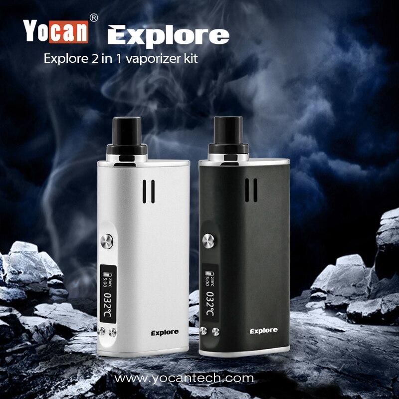 Yocan Explorer 2-en-1 Cire et Herbe Sèche Vaporisateur Cigarette Électronique Kit Mod Boîte 2600 mAh 18650 Batterie Vaporisateur Kit Narguilé Boîte vapeur